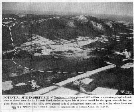 An aerial view of the site where Northeast Utilities proposed a mountaintop pump storage facility, ass it appeared in the Feb. 25, 1970 Berkshire Eagle.