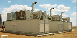 Compressor stations such as these are required to maintain the 1,460 pounds per square inch pressure in the natural gas transmission line.