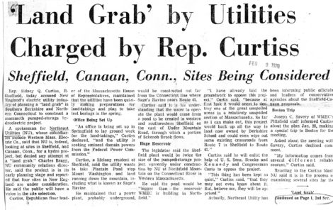 The headline and article in The Berkshire Eagle on Feb. 9, 1970.