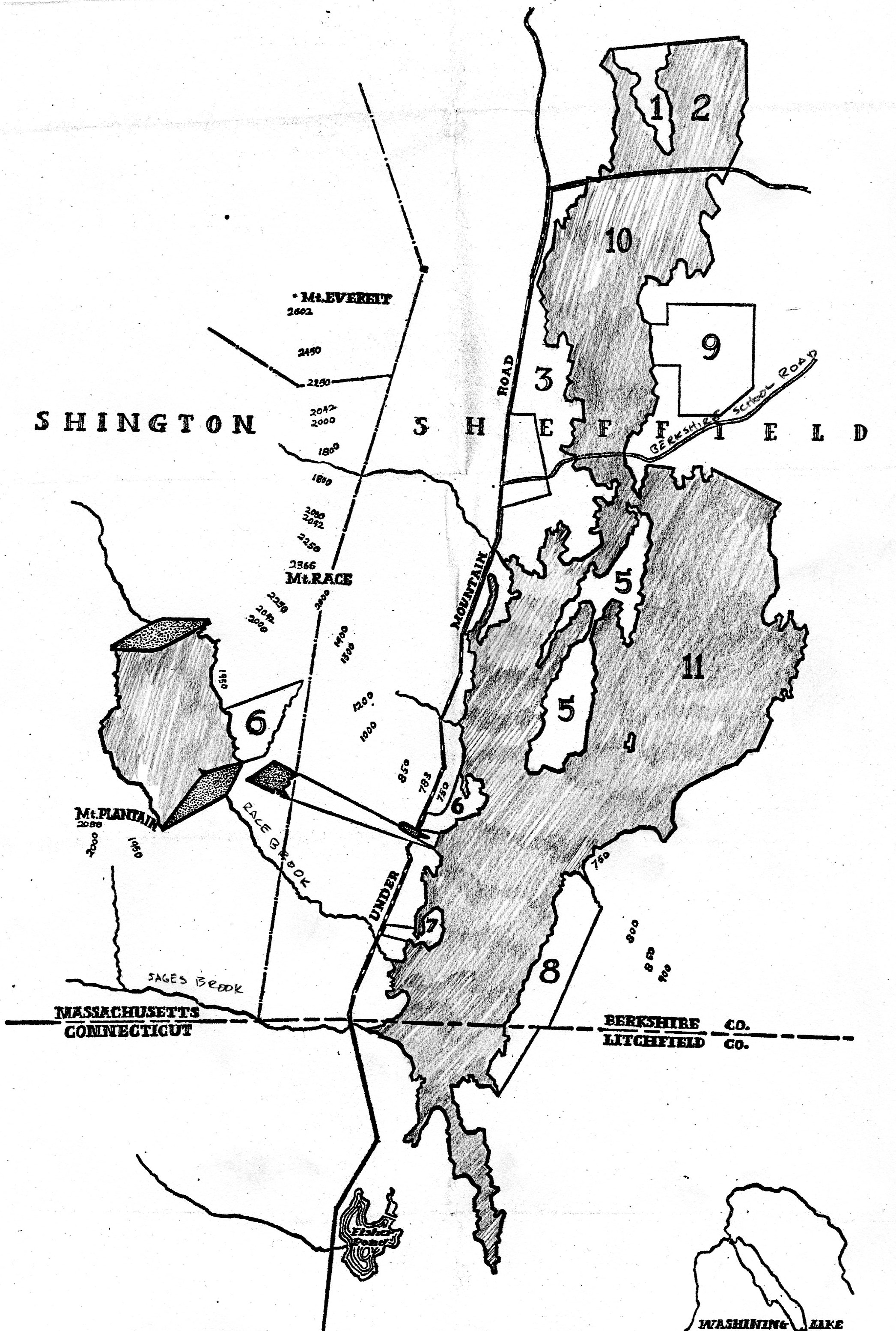 From the Berkshire Eagle of1970 a sketch of the area (shaded) in Sheffield that would have been flooded by the pump storage project.