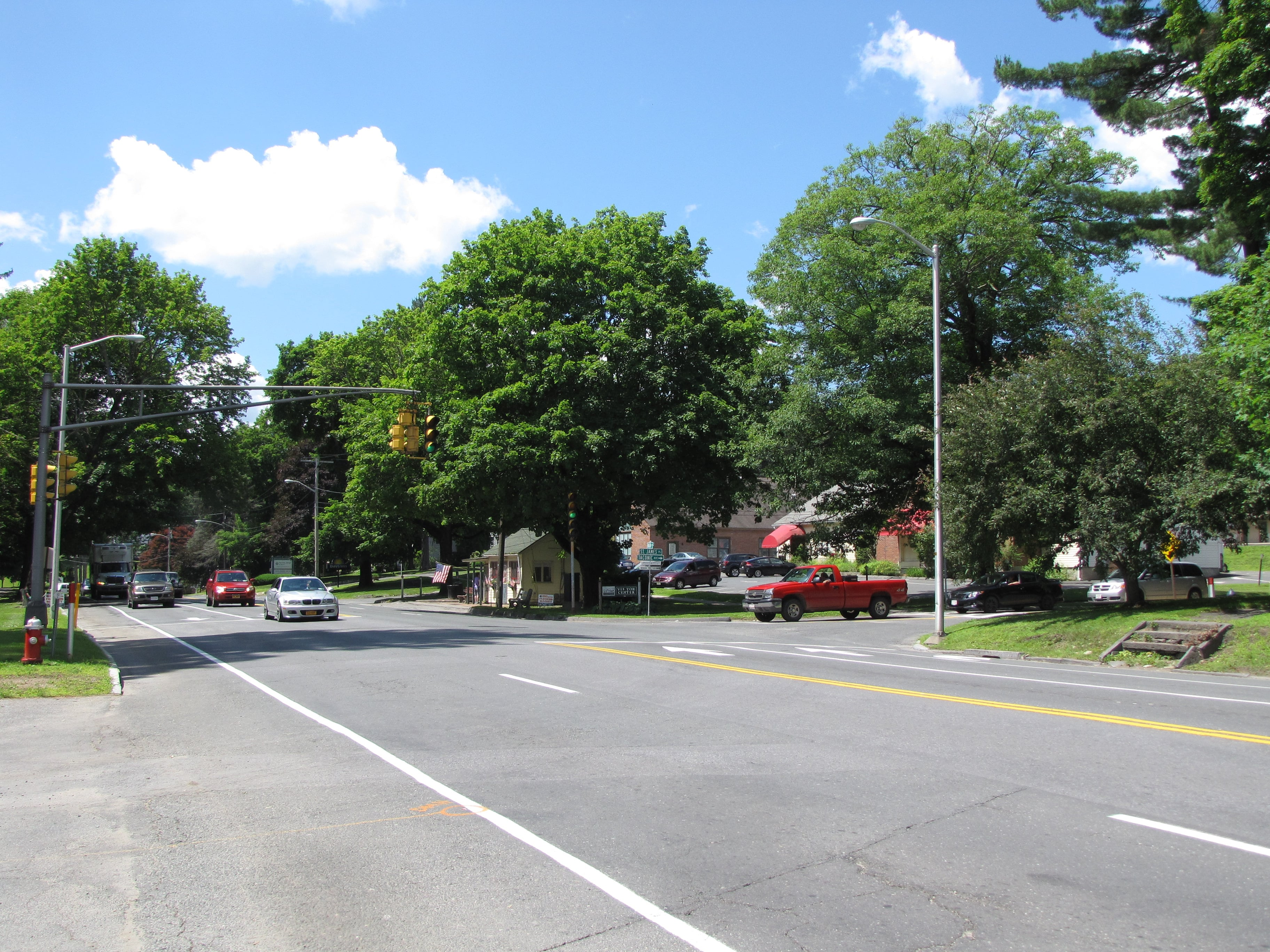On South Main Street, the project begins at the intersection of St. James Place (Taconic Ave.).