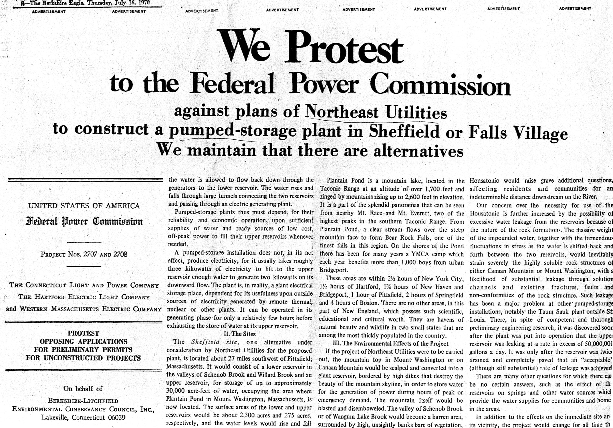 An advertisement proclaiming the opposition of the Berkshire-Litchfield Environmental Conservancy Council to the Northeast Utilities project.