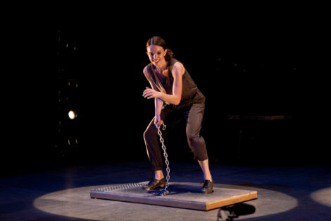 """Michelle Dorrance in """"ETM: The Initial Approach""""; photo Jamie Kraus, courtesy Jacob's Pillow Dance"""