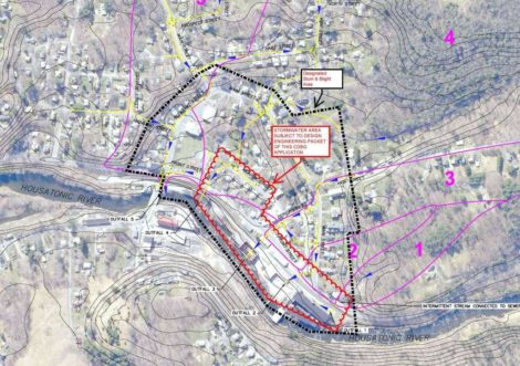 A map of the Front Street drainage upgrade project in Housatonic to be funded with the Community Development Block Grant.