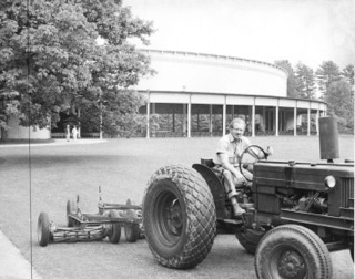 Mowing the the Tanglewood lawn. Photo courtesy of The Berkshire Eagle.