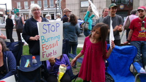 Opponents of natural gas pipeline demonstrate in Greenfield.