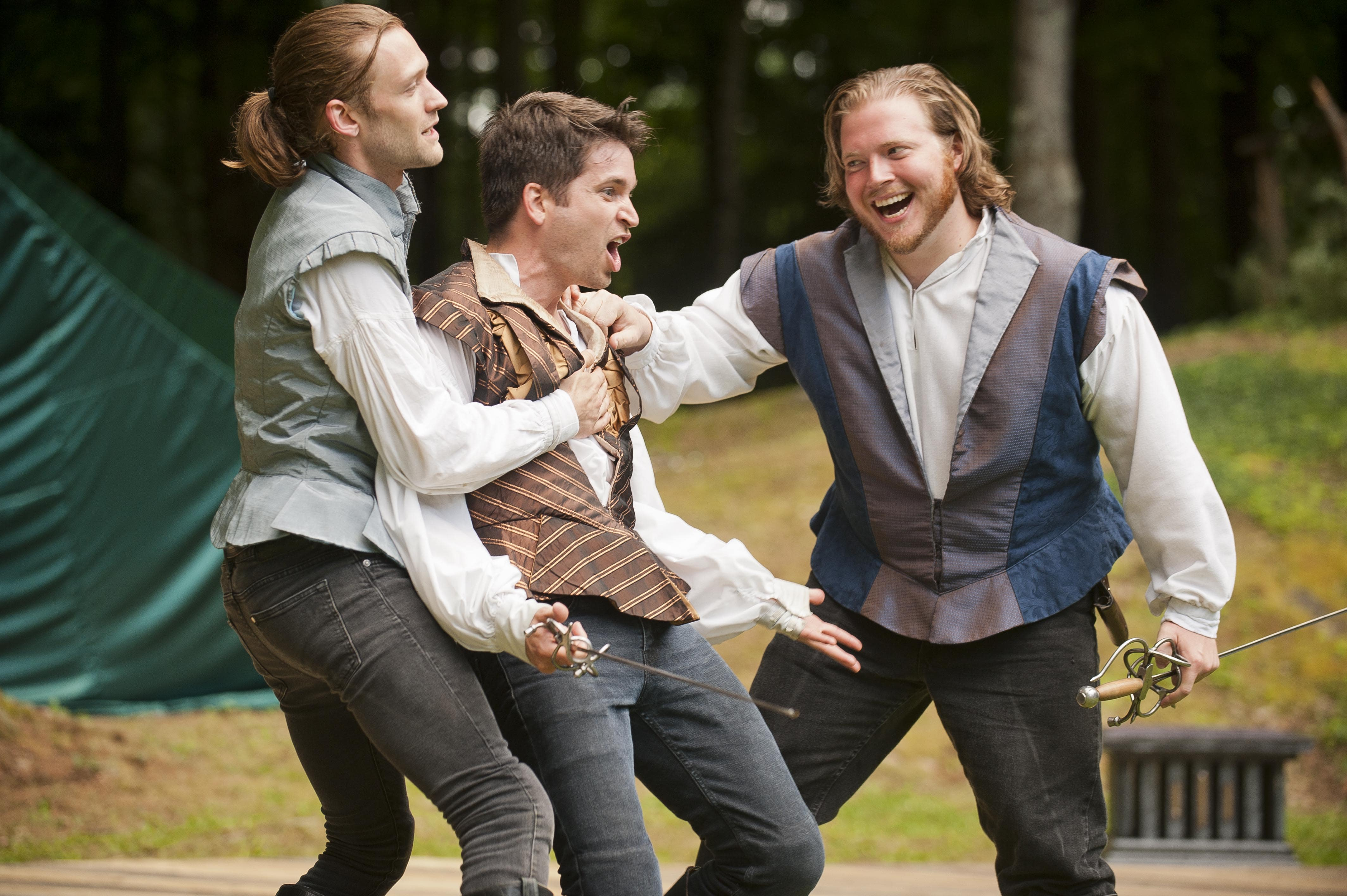 Romeo, Mercutio and Benvolio (Marcus Kearns, Luke Reed, and Conor Moroney). Photo by Kevin Sprague