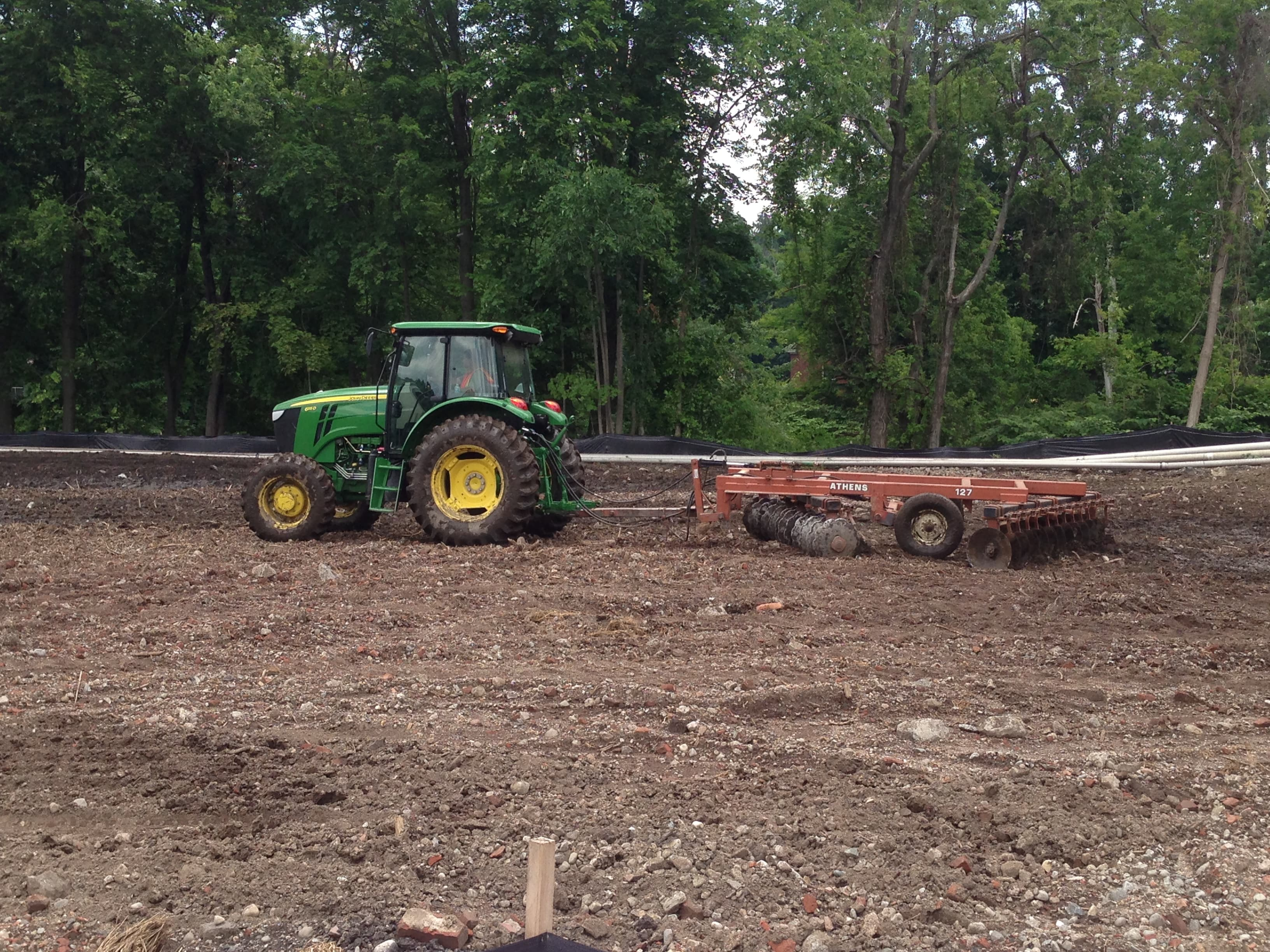 The organic material to break down dioxins was tilled into the soil.