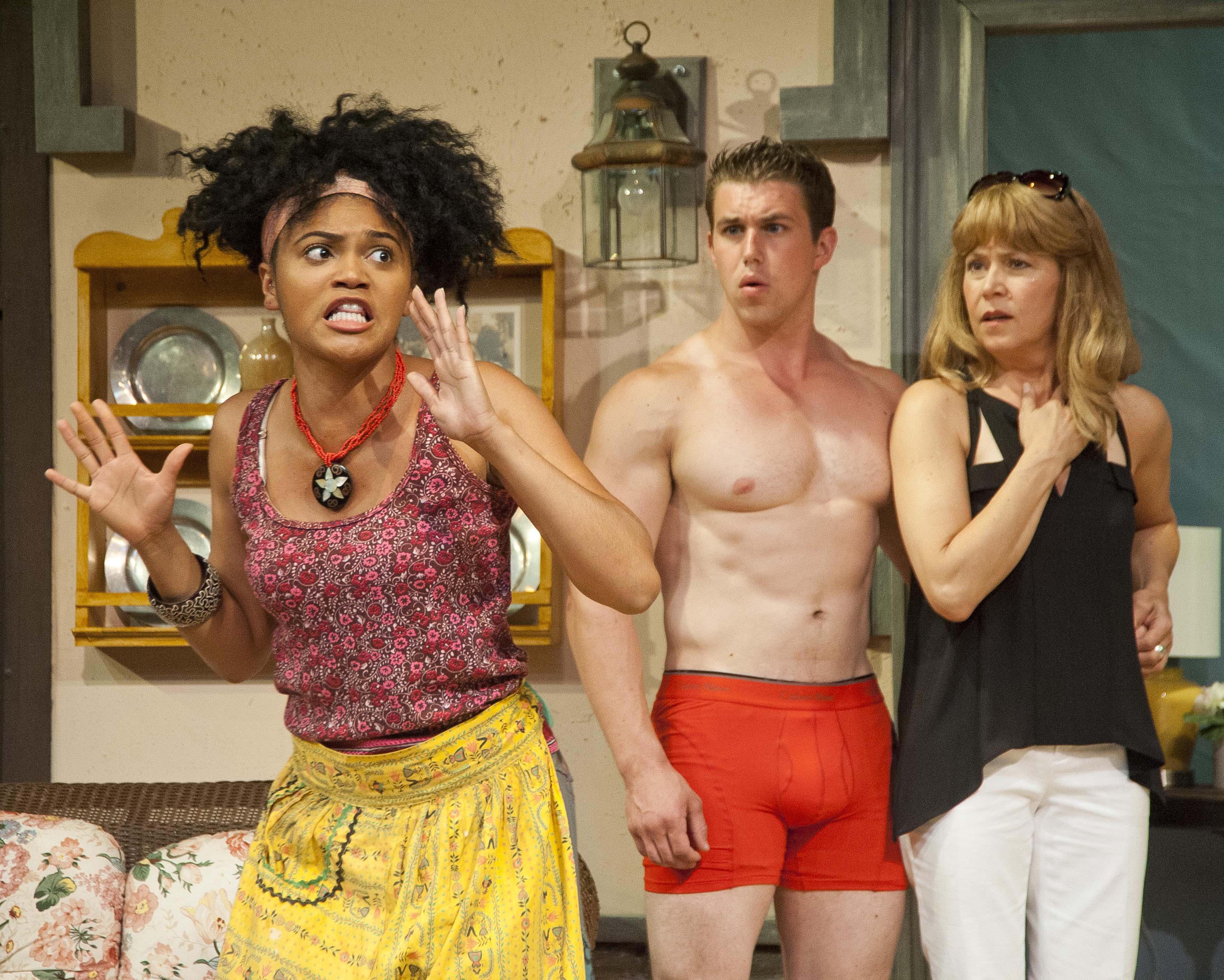 Angel Moore as Cassandra, with Matt Leonard and Elizabeth Aspenlieder. Photo: Kevin Sprague