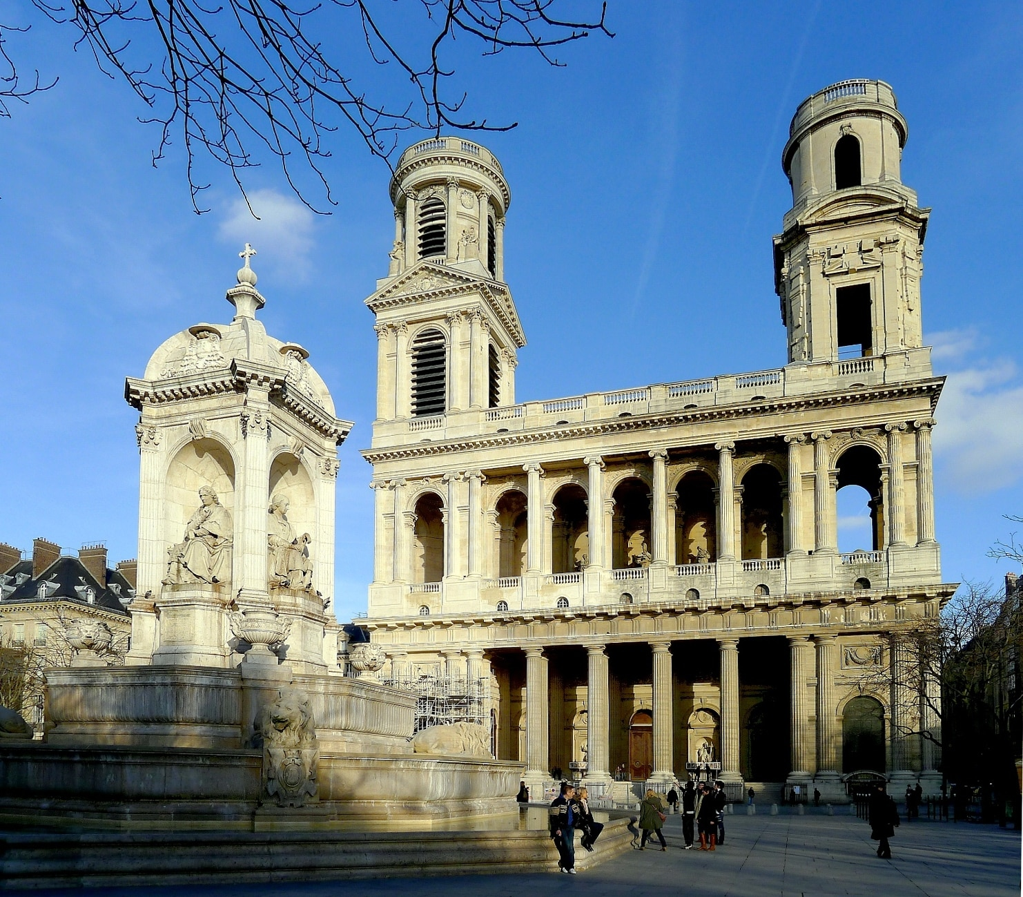 Place St-Sulpice: its fountain and famous church.