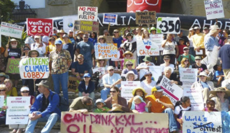 Protestors at a rally organized by Bill McKibben's 350.org in Santa Barbara, a precursor to the People's Climate March in New York City.