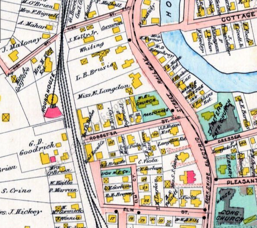 A map showng the location of the railroad turntable and roundhouse  in 1904 just north of Rosseter Street, a site occupied now Magadini Construction. It has been suggested that this parcel could become the parking lot for a new commuter rail platform station.