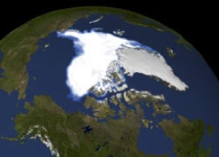 Visualization of the 2007 Arctic sea ice minimum.