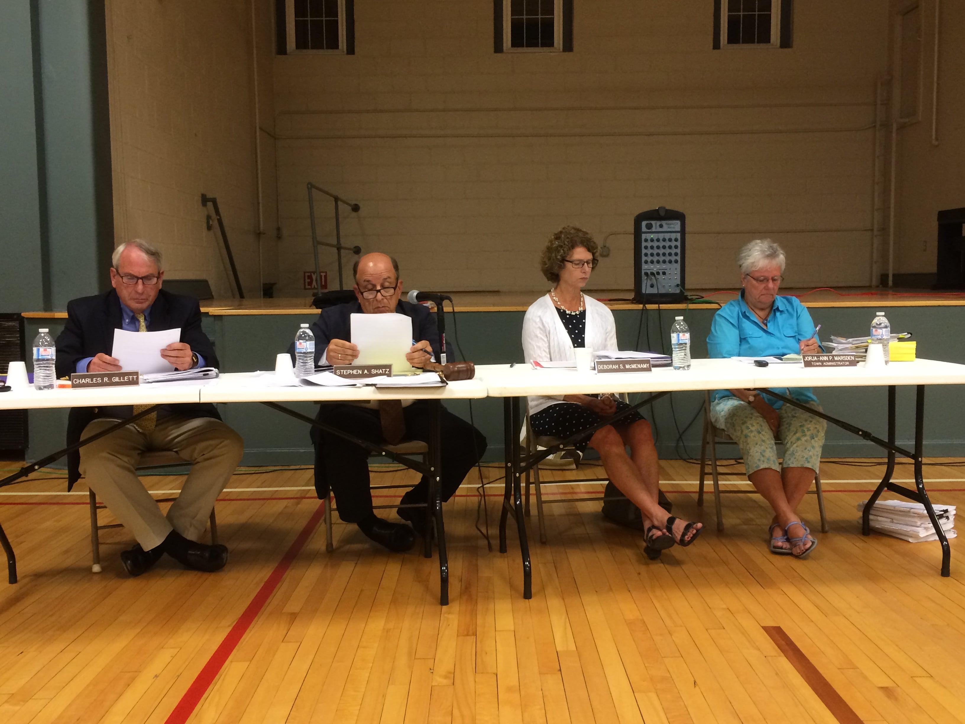 Stockbridge Board of Selectmen: from left, Charles R. Gillett, Stephen A. Shatz, Deborah S. McMenamy, and selectmen's administrator, Jorja-Ann P. Marsden