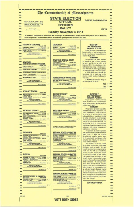 The first page of the statewide November 4 ballot items.