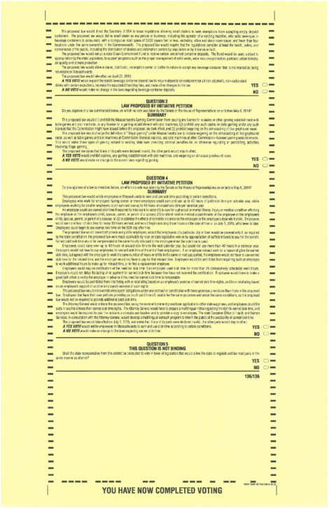 The second page of the November 4 general ballot.