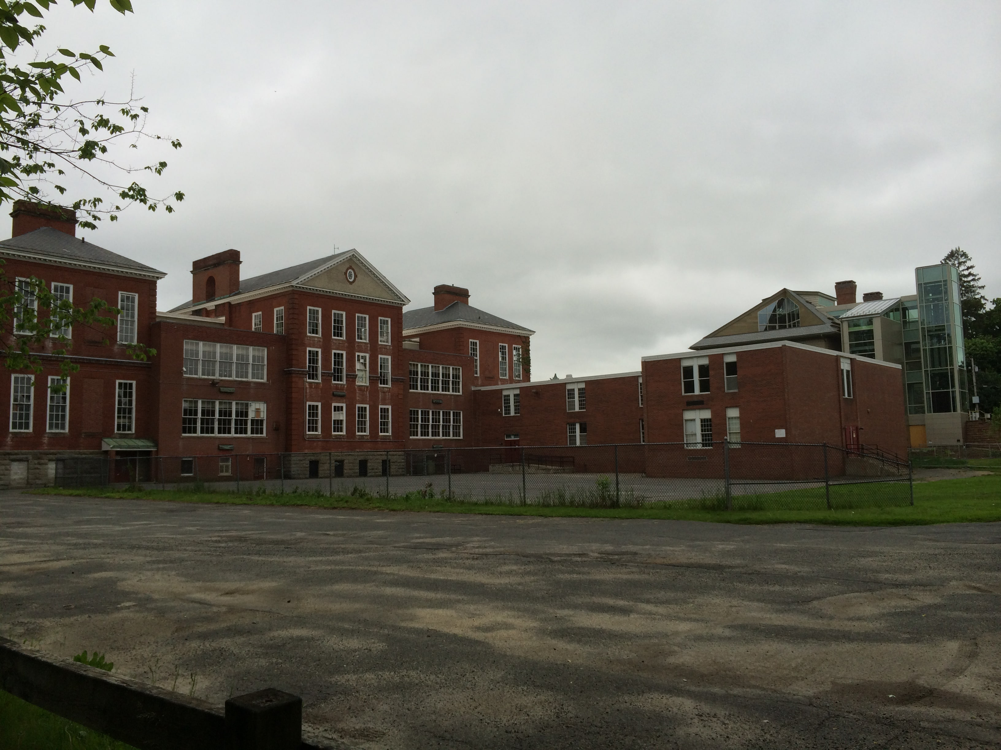 The back of the Searles School complex, with the Bryant School at right.