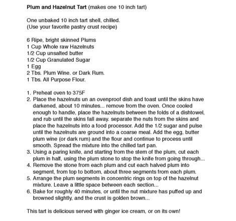 Scott Cole's recipe for Plum Hazelnut Tart.