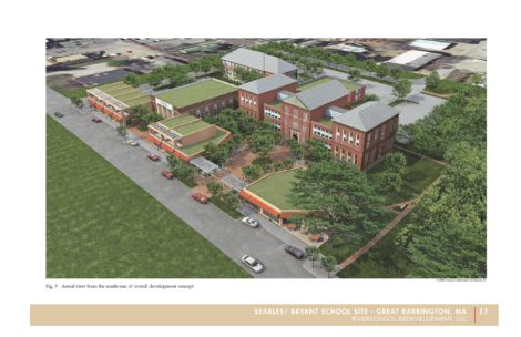 This illustration shows the redevelopment of the Searles and Bryant School complex as originally proposed by RiverSchool Development on Bridge Street in Great Barrington.