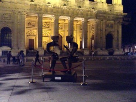 Place St-Sulpice: another sculpture for FIAC, another part of the Place. Photo: Joan Schenkar.