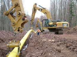Construciton of natural gas pipeline to carry natural gas from the Marcellus Shale.
