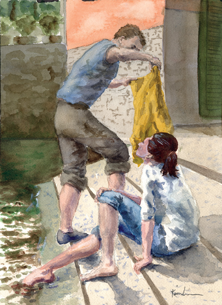 'Couple by the Lago,' watercolor by Harvey Kimmelman at Art on Main.