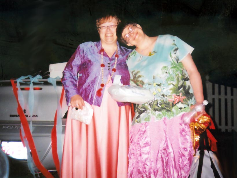 Kristine and Trina, celebrating their marriage.