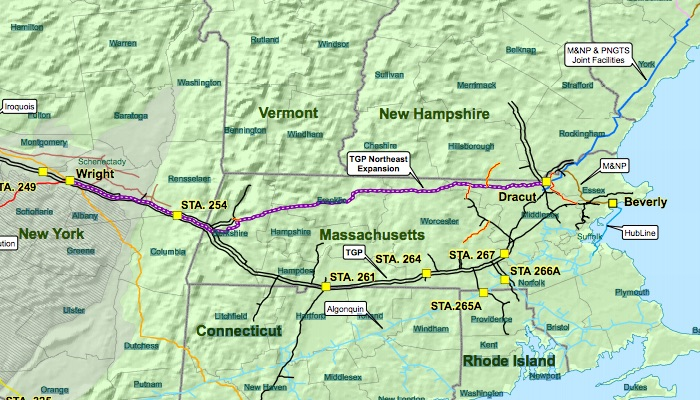 The route of the proposed Kinder Morgan natural gas pipeline network.