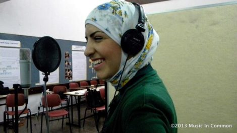 A Palestinian youth during a recording session at the Youth Summit.