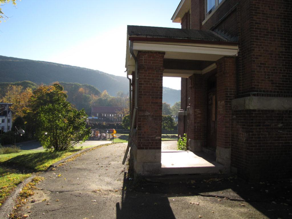 Housatonic School in early morning light, overlooking the center of Housatonic.