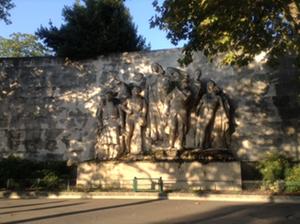 "Embankment Wall of the Cimitière de Passy: ""A NOS HEROS."" Photo: Joan Schenkar"