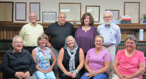 Members of the Becket 250th Anniversary Committee: (Clockwise from lower left corner) Barbara Roberts, Bruce Garlow, George Roberts, Ann Spadafora, Michel Paul Richard, Sandra Jarvis, Rita Furlong, Karen Karlberg, and Linda Bacon.