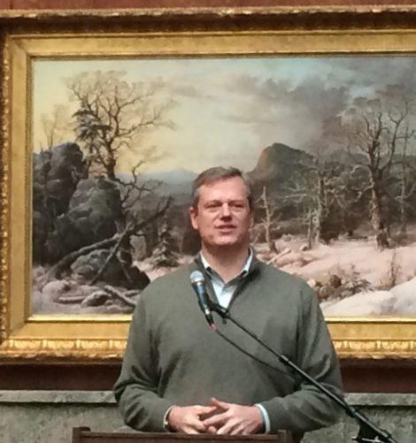 Gov. Charlie Baker speaking at the Berkshire Museum.