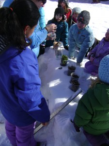 A winter science experiment at the Flying Cloud Institute during February school break.