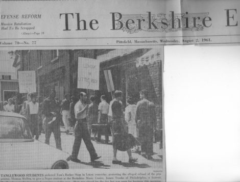 The top of the front page of The August 2, 1961 Berkshire Eagle, with photo of Lenox protest.