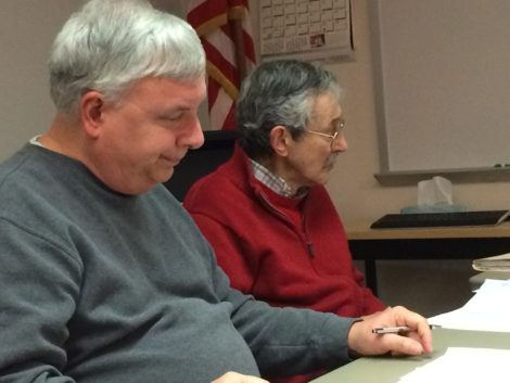 Historical Commission members Gary Leveille, left, and David Rutstein