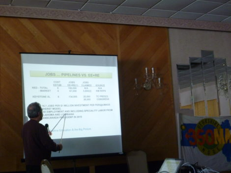 Arnold Pqancentini of Richmond, a member of 350MA Berkshire Node, breaks down job jnumbrs for the pipeline project versus renewable energy projects.