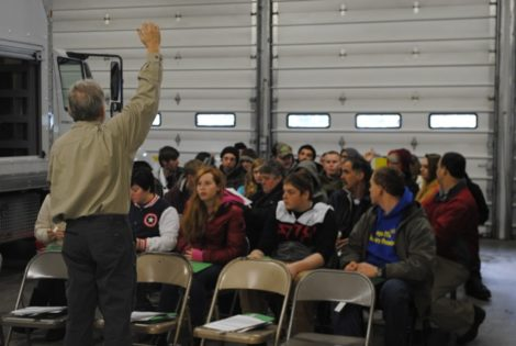 Ron Yaples conducts a discussion about his career as an arborist. Photo: Max Redman