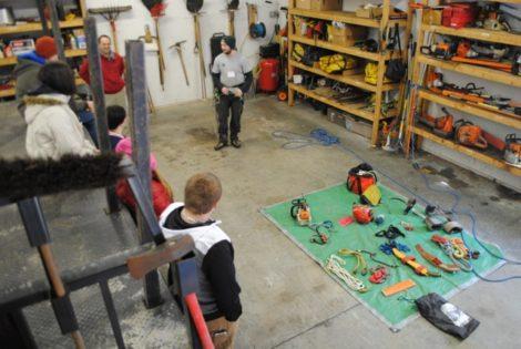 Kieran Yaples explains the tools used in the arborist profession.