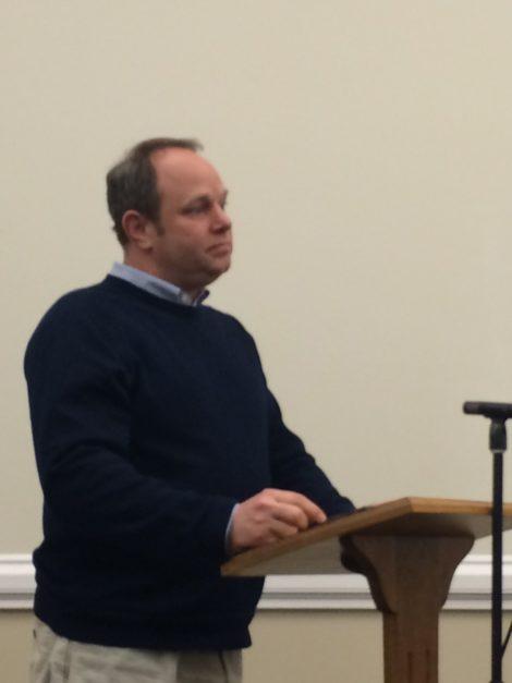 Berkshire Hills Superintendent Peter Dillon addressing the Great Barrington Selectboard.