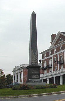 A monument ot Revolutionary War heroes, including Gen. Paterson, stands in Lenox Centre.
