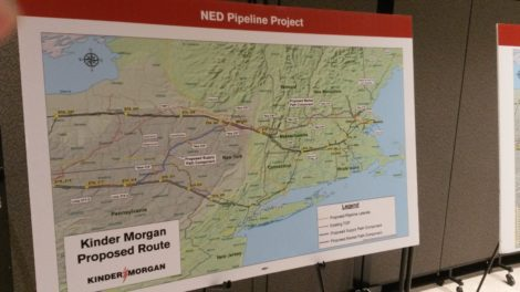 A map of the Kinder Morgan pipeline route, from New York to the coast of New England, displayed at Berkshire Community College. Photo: Dana Drugmand