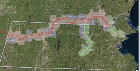 The proposed path of the Kinder Morgan natural gas pipeline, that would convey fracked gas from Pennsylvania, through the Berkshires, Massachusetts and New Hampshire, to eastern New England.