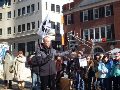 Jim Gordon, president and CEO of Cape Wind, addresses supporters of his project during a rally on the Boston Common.