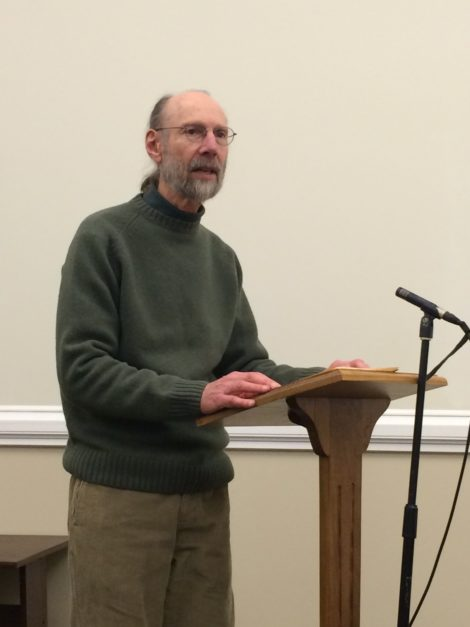 Gary Stoller, of 350 MA, introducing a divestment initiative to the Great Barrington Selectboad. Photo; Heather Bellow