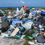 Ocean-borne plastic trash on Midway Island in the South Pacific Ocean.