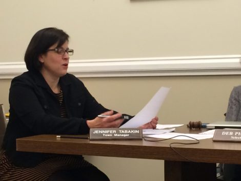 Great Barrington Town Manager Jennifer Tabakin reading at the letter to be sent to the state requesting $2.4 million in aid to upgrade the Bridge Street bridge.