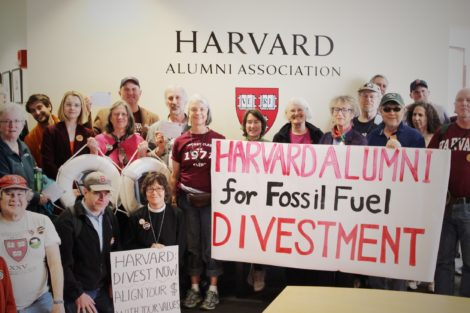 Harvard alumni have demanded the university rid its portfolio of investments in fossil fuel corporations.