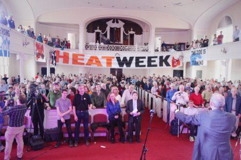 350.org founder Bill McKibben addresses a crowd of Harvard students, alumni and environmental activists.