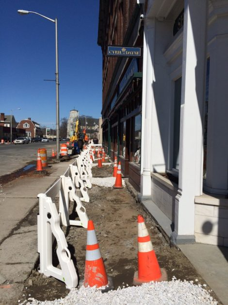 The sidewalk on the east side of Main Street, in front of Evergreen, is being rebuilt now. the west side is next.